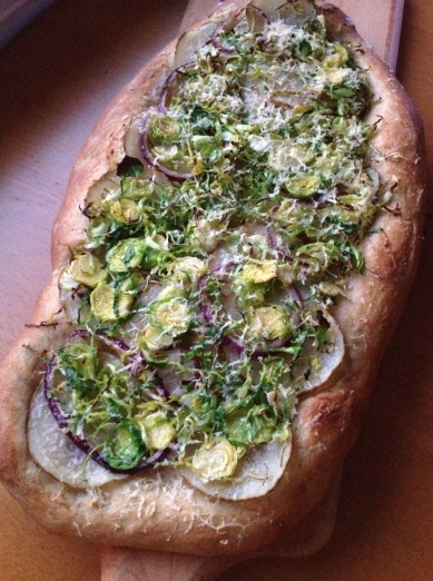brussel sprout and potato pizza 1