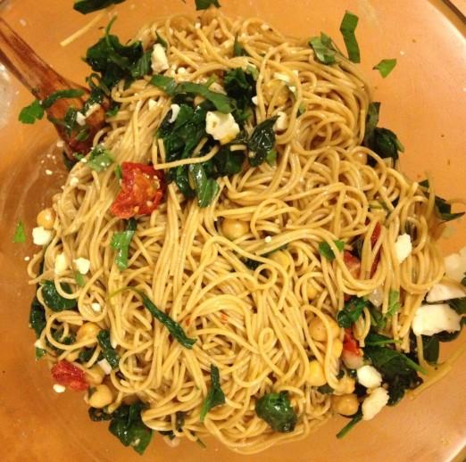 Spaghetti With Sun Dried Tomatoes & Spinach Recipe — Dishmaps