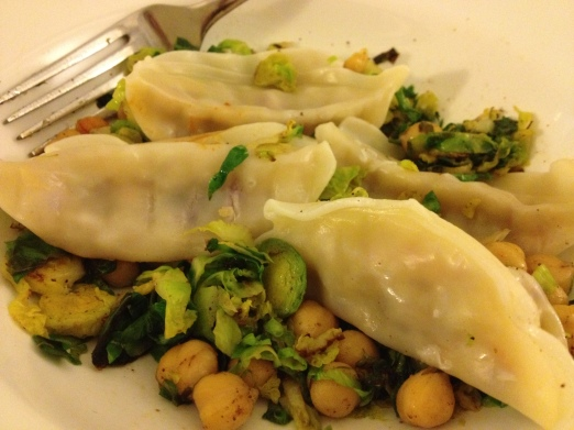 veg potsickers with brussel sprouts and chickpeas3